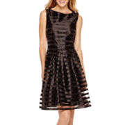 London Style Collection Sleeveless Shantung Fit-and-Flare Dress