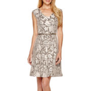 Tiana B. Cap-Sleeve Lace Fit-and-Flare Dress