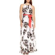R&K Originals® Sleeveless Belted Floral Print Maxi Dress