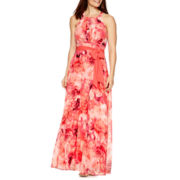R&K Originals® Sleeveless Belted Floral Print Maxi Dress