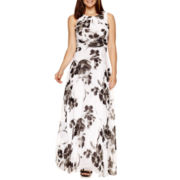 R&K Originals® Sleeveless Ruched-Waist Floral Print Maxi Dress