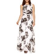 R&K Originals® Sleeveless Ruched-Waist Floral Print Maxi Dress