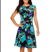 London Style Collection Sleeveless Floral Print Fit-and-Flare Dress
