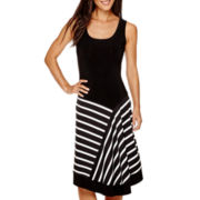 MSK Sleeveless Striped-Skirt Tank Dress