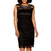 Scarlett Sleeveless Beaded Lace Sheath Dress - Plus