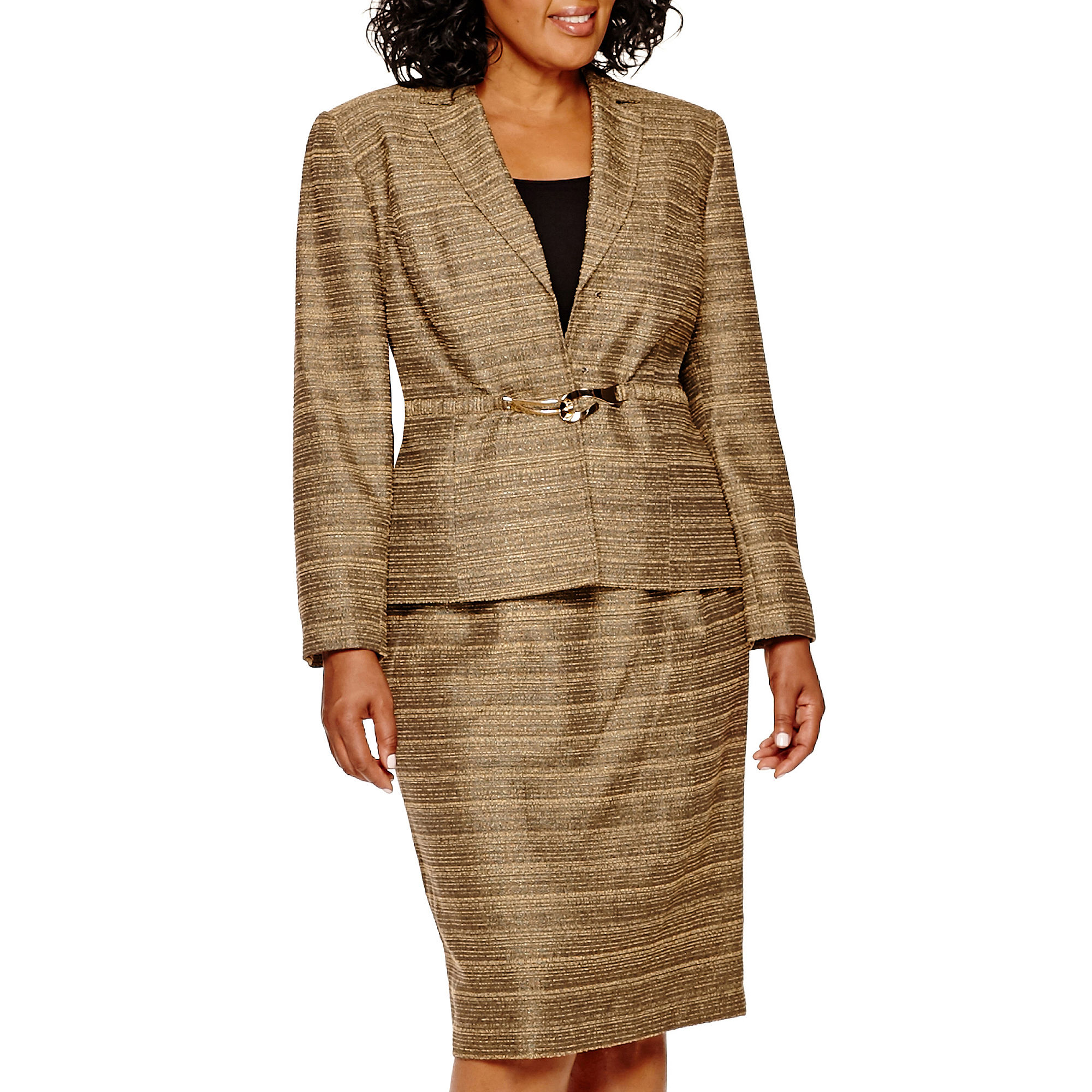 Isabella Long-Sleeve Textured Jacket and Skirt Suit - Plus
