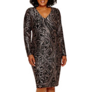 Blu Sage 3/4-Sleeve Glitter Sheath Dress - Plus