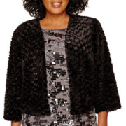 Marina Long-Sleeve Faux-Fur Shrug - Plus