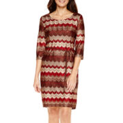 Studio 1® 3/4-Sleeve Zigzag Belted Sweater Dress - Petite