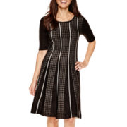 Studio 1® Elbow-Sleeve Fit-and-Flare Sweater Dress - Petite