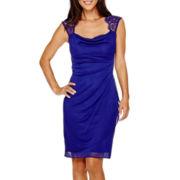 Scarlett Sleeveless Lace-Shoulder Sheath Dress