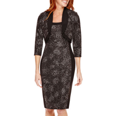 jcpenney.com | R&M Richards 3/4-Sleeve Sequin Bolero Jacket Dress