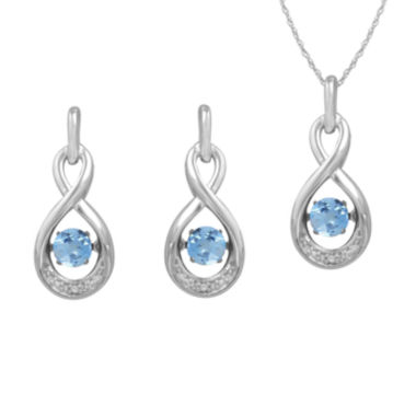 jcpenney.com | Love in Motion™ Genuine Blue Topaz and Lab-Created White Sapphire Earring and Necklace Set