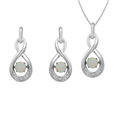 jcpenney.com | Love in Motion™ Lab-Created Opal &White Sapphire Sterling Silver Infinity 2-pc. Boxed Jewelry Set