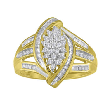jcpenney.com | 1/2 CT. T.W. Diamond 14K Gold Over Silver Marquise-Shaped Ring
