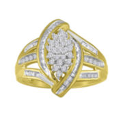 1/2 CT. T.W. Diamond 14K Gold Over Silver Marquise-Shaped Ring