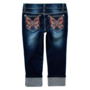 Vigoss® Neon Butterfly Cropped Jeans - Girls 7-14
