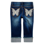 Vigoss® Crochet Butterfly-Pocket Cropped Jeans - Girls 7-14