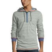 Burnside® Striped Pullover Henley Hoodie