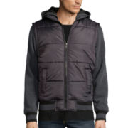 Chalc® Black Quilted Fleece Hooded Jacket