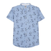 Novelty Snoopy Short-Sleeve Woven Button Front Shirt