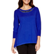 Worthington® 3/4-Sleeve Embellished Sweater - Petite