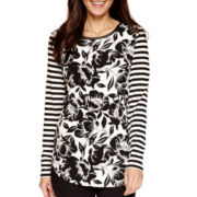 Worthington® Long-Sleeve Flocked T-Shirt - Petite