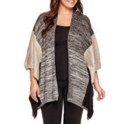 Alyx® Elbow-Sleeve Colorblock Sweater Poncho - Plus