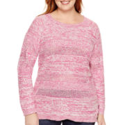 St. John's Bay® Long-Sleeve Marled Scoop Sweater