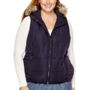 Liz Claiborne® Faux-Fur-Trim Quilted Vest - Plus