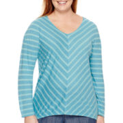 Liz Claiborne® Long-Sleeve V-Neck Mitered-Stripe Tunic - Plus