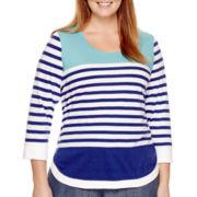 Liz Claiborne® 3/4-Sleeve Curved-Hem Striped Top - Plus