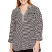 Liz Claiborne® 3/4-Sleeve Striped Tunic - Plus