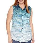 Liz Claiborne® Sleeveless Button-Front Shirt - Plus