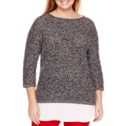 Liz Claiborne® 3/4-Sleeve Pointelle Layered Pullover - Plus