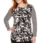 Worthington® Long-Sleeve Embellished Tunic Top - Plus