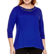 Worthington® 3/4-Sleeve Embellished Sweater - Plus