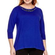 Worthington® 3/4-Sleeve Embellished Sweater - Plus