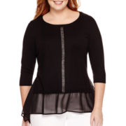 Worthington® Long-Sleeve Embellished Sweater - Plus