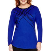 Worthington® Long-Sleeve Flocked T-Shirt - Plus