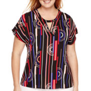 Worthington® Short-Sleeve Sequin-Inset Blouse - Plus