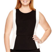 Liz Claiborne® Sleeveless Colorblock Ponte Top - Plus