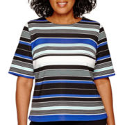 Liz Claiborne® Elbow-Sleeve Striped Scuba Top - Plus