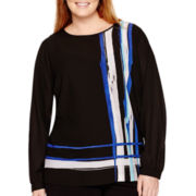 Liz Claiborne® Long-Sleeve Striped Blouse - Plus