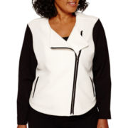 Liz Claiborne® Quilted Knit Jacket - Plus