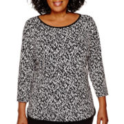 Liz Claiborne® 3/4-Sleeve Print Top - Plus