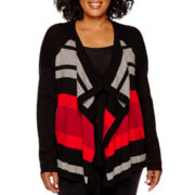 Liz Claiborne® Long-Sleeve Striped Open-Front Cardigan - Plus