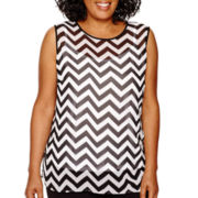 Liz Claiborne® Sleeveless Chevron Blouse - Plus