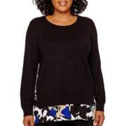 Liz Claiborne® Long-Sleeve Layered Sweater - Plus
