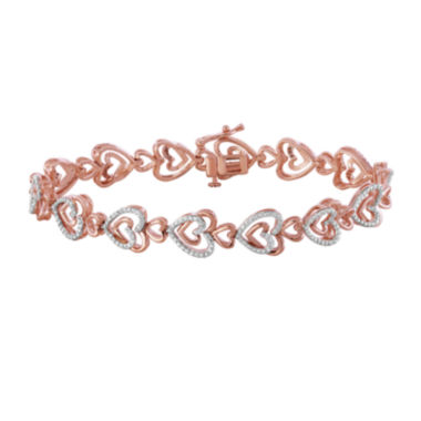 jcpenney.com | ForeverMine® 1/10 CT. T.W. Diamond 14K Rose Gold/Sterling Silver Heart Bracelet